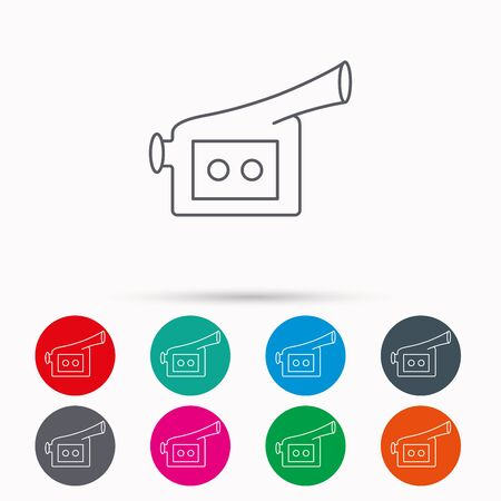 past production: Video camera icon. Retro cinema sign. Linear icons in circles on white background. Illustration