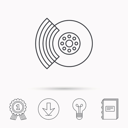 brakes: Brakes icon. Auto disk repair sign. Download arrow, lamp, learn book and award medal icons. Illustration