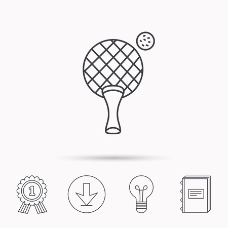 professional sport: Table tennis icon.     Professional sport symbol. Download arrow, lamp, learn book and award medal icons.