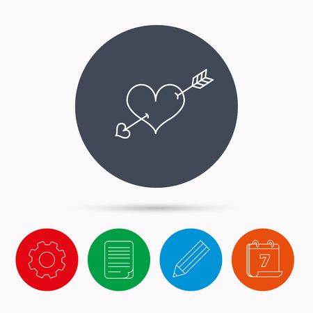 edit valentine: Love heart icon. Amour arrow sign. Calendar, cogwheel, document file and pencil icons.
