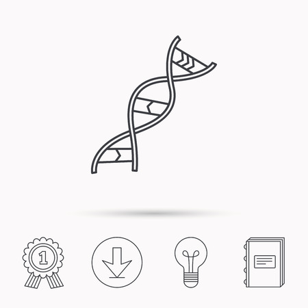adenine: DNA icon. Genetic evolution structure sign. Biology science symbol. Download arrow, lamp, learn book and award medal icons.