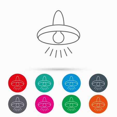 illumination: Ceiling lamp icon. Light illumination sign. Linear icons in circles on white background.