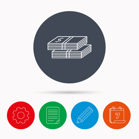 wads: Cash icon. Dollar money sign. USD currency symbol. 2 wads of money. Calendar, cogwheel, document file and pencil icons.