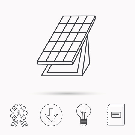 solar collector: Solar collector icon. Sunlight energy generation sign. Innovation battery power symbol. Download arrow, lamp, learn book and award medal icons.