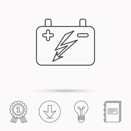 emitter: Accumulator icon. Electrical battery sign. Download arrow, lamp, learn book and award medal icons.