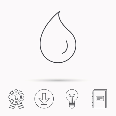 washing symbol: Water drop icon. Liquid sign. Freshness, condensation or washing symbol. Download arrow, lamp, learn book and award medal icons. Illustration