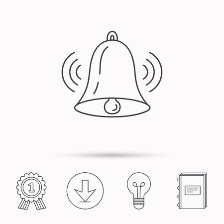 handbell: Ringing bell icon. Sound sign. Alarm handbell symbol. Download arrow, lamp, learn book and award medal icons.