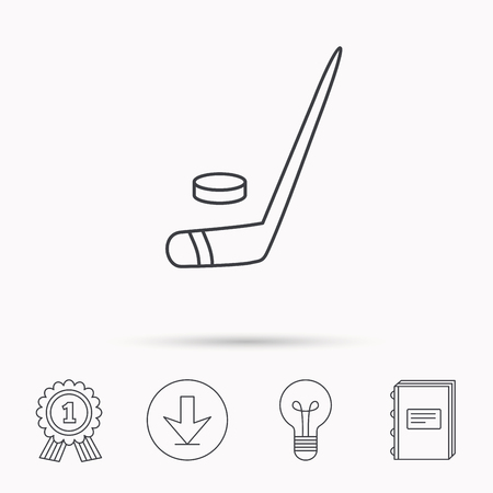 professional sport: Ice hockey icon. Professional sport game sign. Download arrow, lamp, learn book and award medal icons. Illustration