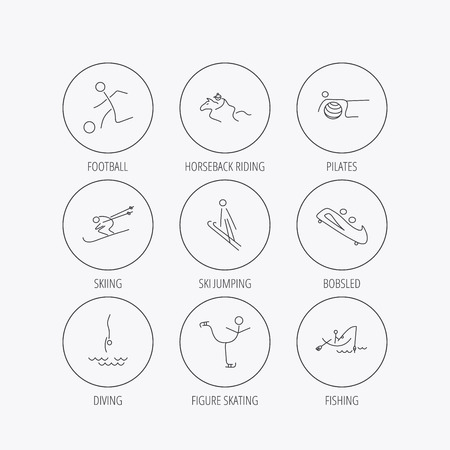 bobsled: Pilates, football and skiing icons. Fishing, diving and figure skating linear signs. Ski jumping, horseback riding and bobsled icons. Linear colored in circle edge icons. Illustration