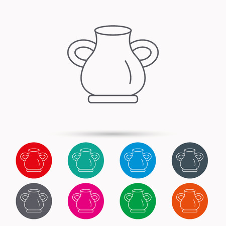 amphora: Vase icon. Decorative vintage amphora sign. Linear icons in circles on white background.