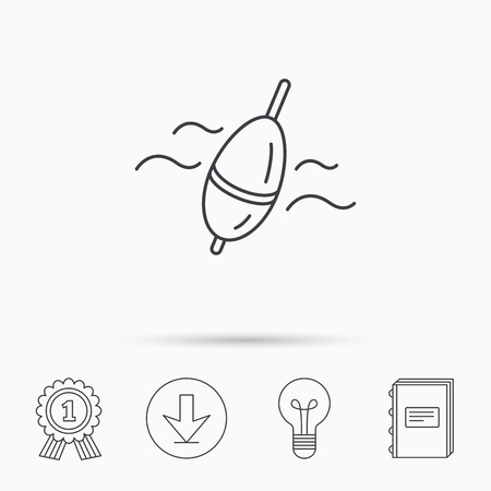 fishing float: Fishing float icon. Bobber in waves sign. Angling symbol. Download arrow, lamp, learn book and award medal icons.