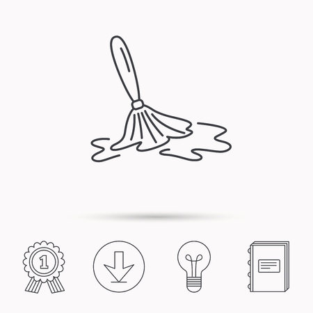 cleanup: Wet cleaning icon. Clean-up floor tool sign. Download arrow, lamp, learn book and award medal icons.