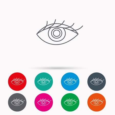 ophthalmology: Eye icon. Human vision sign. Ophthalmology symbol. Linear icons in circles on white background.