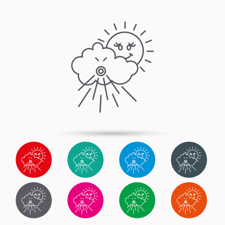 the tempest: Wind icon. Cloud with sun and storm sign. Strong wind or tempest symbol. Linear icons in circles on white background.