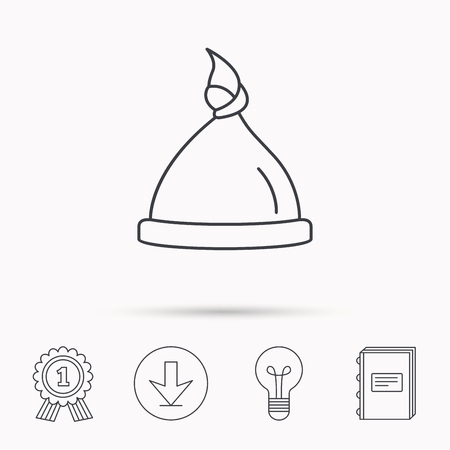 nodule: Baby hat icon. Newborn cap sign. Toddler sleeping clothes symbol. Download arrow, lamp, learn book and award medal icons.