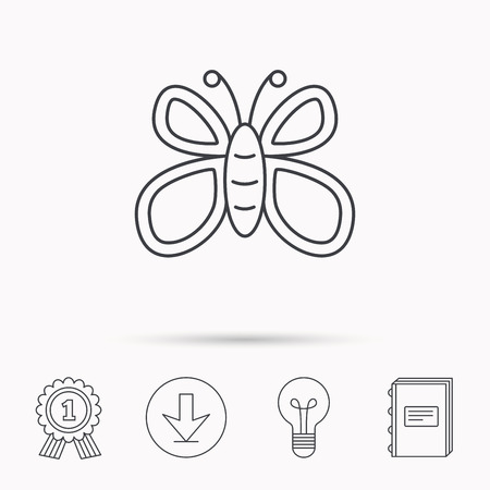 lepidoptera: Butterfly icon. Flying lepidoptera sign. Dreaming symbol. Download arrow, lamp, learn book and award medal icons. Illustration
