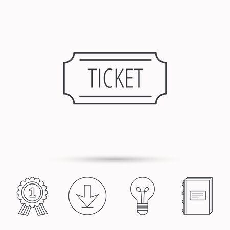 event icon: Ticket icon. Coupon sign. Download arrow, lamp, learn book and award medal icons.