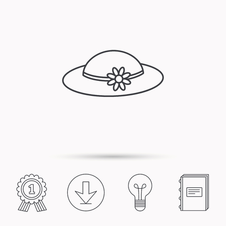 flower lamp: Female hat with flower icon. Women headdress sign. Download arrow, lamp, learn book and award medal icons. Illustration