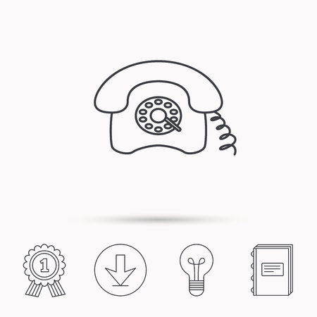 telephone icons: Retro phone icon. Old telephone sign. Download arrow, lamp, learn book and award medal icons.