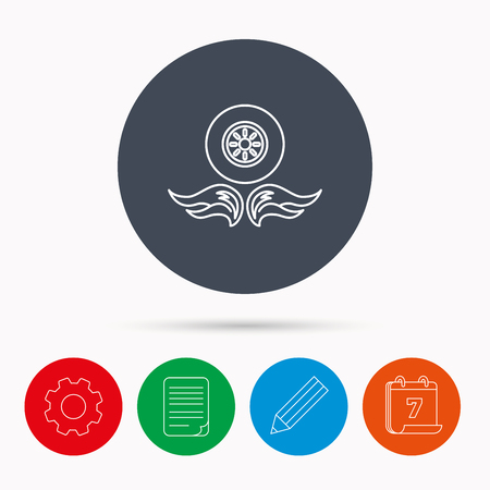 document file: Car wheel icon. Fire flame symbol. Calendar, cogwheel, document file and pencil icons.