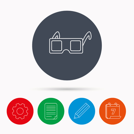 freetime: 3D glasses icon. Cinema technology sign. Vision effect symbol. Calendar, cogwheel, document file and pencil icons.