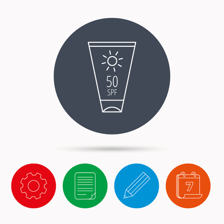sun cream: Sun cream container icon. Beach lotion sign. Calendar, cogwheel, document file and pencil icons.