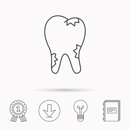 rotting: Caries icon. Tooth health sign. Download arrow, lamp, learn book and award medal icons. Illustration