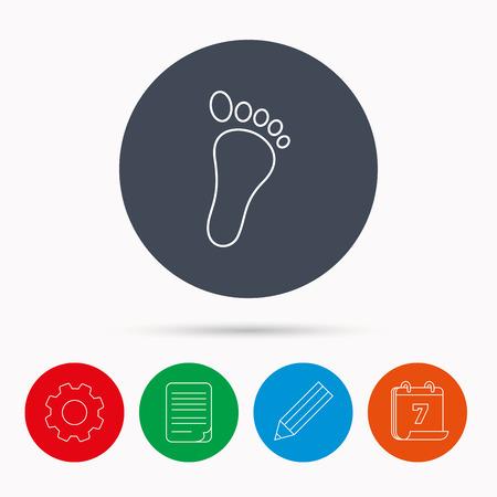 newborn footprint: Baby footprint icon. Child foot sign. Newborn step symbol. Calendar, cogwheel, document file and pencil icons. Illustration