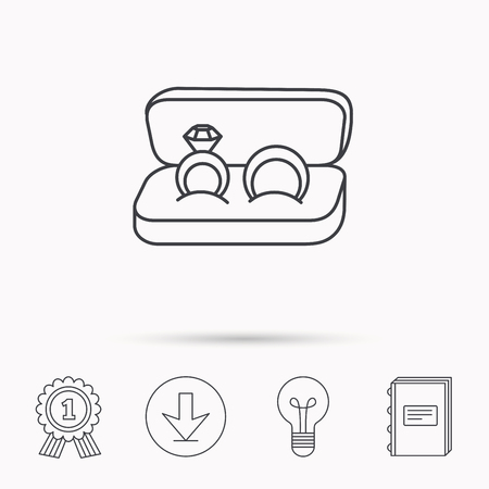 fiance: Wedding rings icon. Jewelry with diamond sign. Marriage symbol. Download arrow, lamp, learn book and award medal icons.