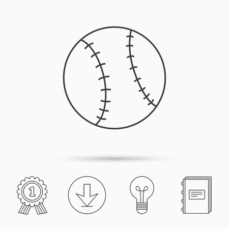 team game: Baseball equipment icon. Sport ball sign. Team game symbol. Download arrow, lamp, learn book and award medal icons. Illustration