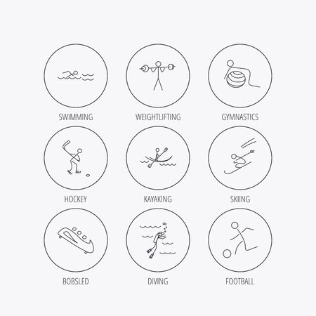 bobsleigh: Swimming, football and skiing icons. Ice hockey, diving and gymnastics linear signs. Kayaking, weightlifting and bobsleigh icons. Linear colored in circle edge icons.