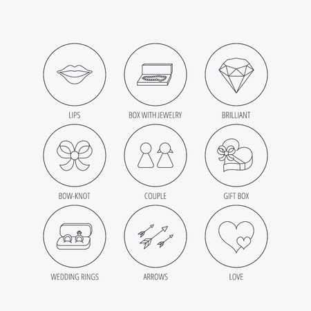 brilliant heart: Love heart, gift box and wedding rings icons. Kiss lips and couple linear signs. Valentine amour arrows, brilliant flat line icons. Linear colored in circle edge icons.
