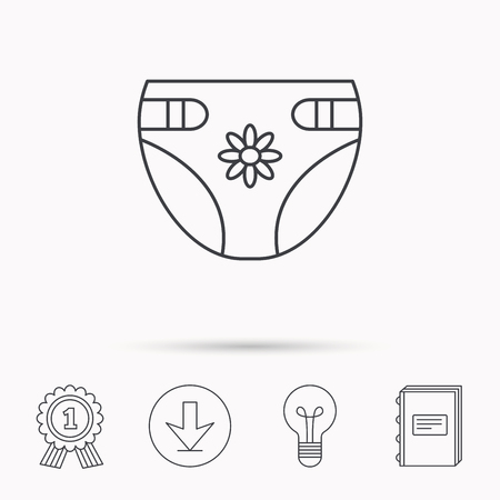 nappy: Diaper with flower icon. Child underwear sign. Newborn protection symbol. Download arrow, lamp, learn book and award medal icons. Illustration