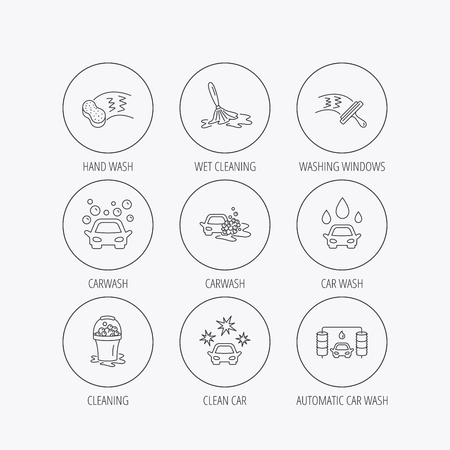 washing windows: Car wash icons. Automatic cleaning station linear signs. Washing windows, sponge and foam bucket flat line icons. Linear colored in circle edge icons. Illustration
