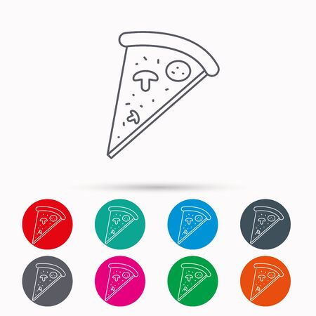 bake: Pizza icon. Piece of Italian bake sign. Linear icons in circles on white background.