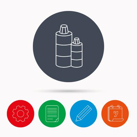 shampoo bottles: Shampoo bottles icon. Liquid soap sign. Calendar, cogwheel, document file and pencil icons.