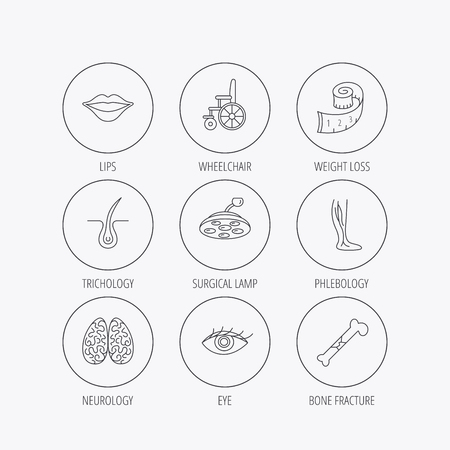 vision loss: Eye, neurology brain and vein varicose icons. Wheelchair, bone fracture and trichology linear signs. Weight loss, lips and surgical lamp icons. Linear colored in circle edge icons. Illustration