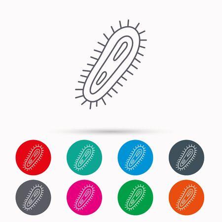 microbio: icono de bacterias. s�mbolo de la infecci�n medicina. Bacteria o microbio signo. iconos lineales en c�rculos sobre fondo blanco.