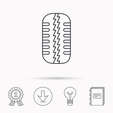tread: Tire tread icon. Car wheel sign. Download arrow, lamp, learn book and award medal icons.