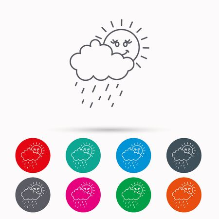 overcast: Rain and sun icon. Water drops and cloud sign. Rainy overcast day symbol. Linear icons in circles on white background. Illustration