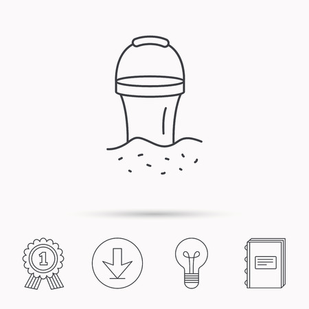 beach game: Bucket in sand icon. Trash bin sign. Child beach game symbol. Download arrow, lamp, learn book and award medal icons.