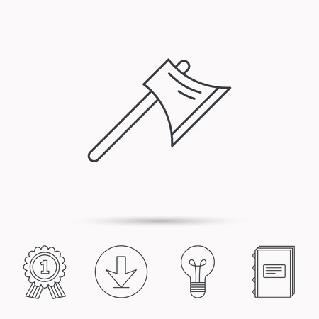 steel worker: Axe icon. Worker equipment sign. Steel weapon symbol. Download arrow, lamp, learn book and award medal icons.