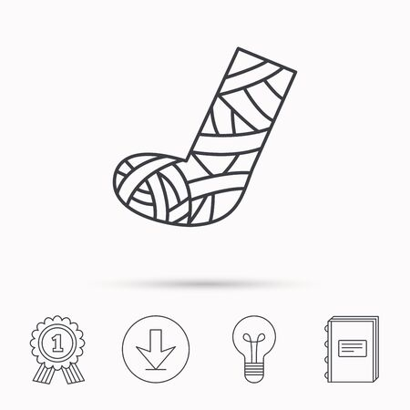 cast: Gypsum or cast foot icon. Broken leg sign. Human recovery medicine symbol. Download arrow, lamp, learn book and award medal icons.