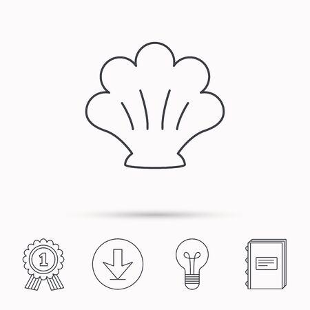 mollusk: Sea shell icon. Seashell sign. Mollusk shell symbol. Download arrow, lamp, learn book and award medal icons.