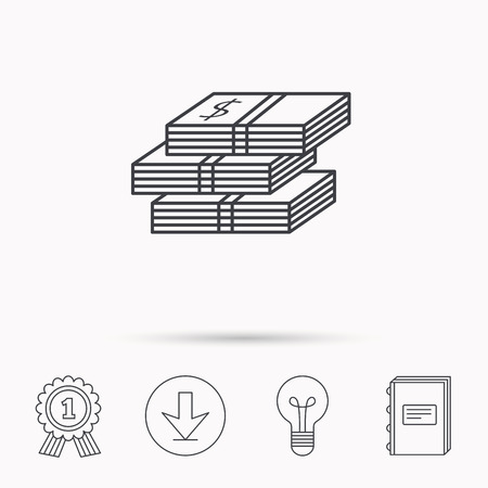 cash book: Cash icon. Dollar money sign. USD currency symbol. 3 wads of money. Download arrow, lamp, learn book and award medal icons.