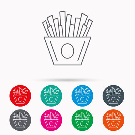 fried potatoes: Chips icon. Fries fast food sign. Fried potatoes symbol. Linear icons in circles on white background.