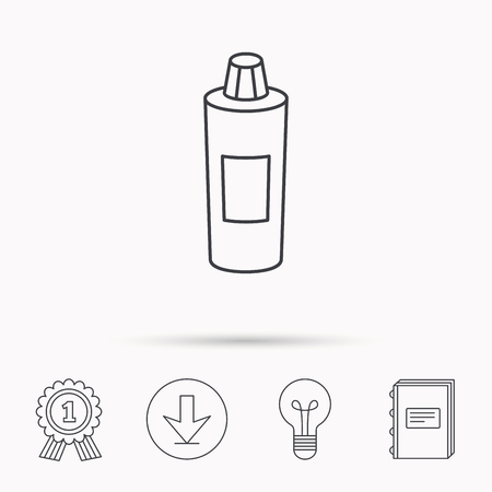 shampoo bottle: Shampoo bottle icon. Liquid soap sign. Download arrow, lamp, learn book and award medal icons.