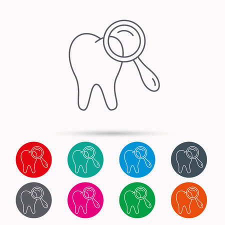 diagnostic: Dental diagnostic icon. Tooth hygiene sign. Linear icons in circles on white background. Illustration