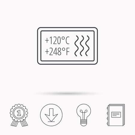 resistant: Heat resistant icon. Microwave or dishwasher information sign. Attention symbol. Download arrow, lamp, learn book and award medal icons.