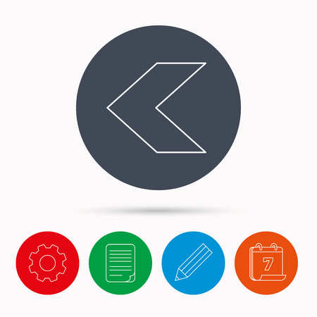 document file: Back arrow icon. Previous sign. Left direction symbol. Calendar, cogwheel, document file and pencil icons.